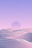 Japanese Mountain layout design in minimalist oriental style. Vector banner with polygonal landscape illustration. Chinese background with line pattern. Abstract template with geometric pattern