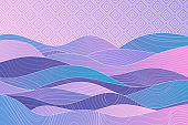 Ethnic landscape. Japanese background with line wave pattern vector. Sunset, sunrise in the mountains. Abstract template with geometric pattern. Mountain layout design in oriental style.