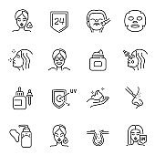 Collection of monochrome skin care icon vector illustration. Set of cosmetology procedure for face