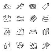 Shoe cleaning and care products thin line icons set isolated on white. Cleaner, brush, spray.