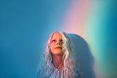 child fantasy kid imagination blonde girl rainbow