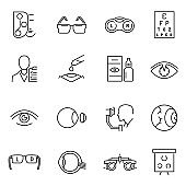 Collection of monochrome optometry icons vector ophthalmology vision healthcare medical science