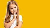 curious child advertising background puzzled girl