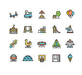 Kid Playground Sign Color Thin Line Icon Set. Vector