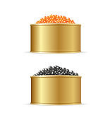 Realistic Detailed 3d Red and Black Caviar Can Set. Vector