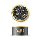 Realistic Detailed 3d Black Caviar Can Set. Vector