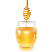 Realistic Detailed 3d Transparent Glass Honey Jar and Wooden Dipper. Vector