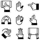 Gesture - outline icon set stock illustration