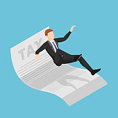 Isometric Businessman Slipping and Falling on Tax Document