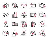 Vector Set of Industrial icons related to Technical algorithm, Open box and Consolidation. Vector