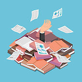 Isometric Businessman Drowned in Book and Document Pile