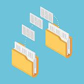 Isometric Two Folders Transferring Files Documents