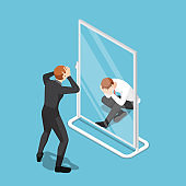 Isometric Businessman See Himself Failure in The Mirror