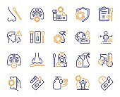 Covid Test line icons. Nasal swab, Blood testing, Waiting time. Social Distance, Hand Sanitizer, Rapid test line icons. Vector