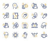 Touch warning line icons. Stop touch face, eyes and medical mask. Covid cough symptoms. Vector
