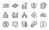 Line icons set. Included icon as Sales diagram, Graph chart, Teamwork. Vector
