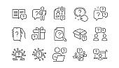 Questions line icons. Artificial Intelligence computer, phone with Question mark, Problem solve. Vector