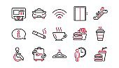 Public services line icons. Elevator, Taxi and Wifi. Linear icon set. Vector