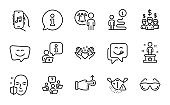 People icons set. Included icon as Drag drop, Music app, Teamwork question. Vector