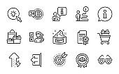 Business icons set. Included icon as Target purpose, Opinion, Sign out. Vector