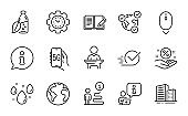 Business icons set. Included icon as Scroll down, Feedback, Time management. Vector