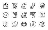 Finance icons set. Included icon as Wallet, Crown, Report. Vector