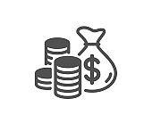 Coins bag simple icon. Cash money sign. Vector
