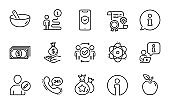 Business icons set. Included icon as Income money, Payment, Phone protection. Vector