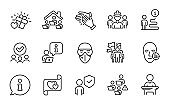 People icons set. Included icon as Love gift, Problem skin, Teamwork. Vector