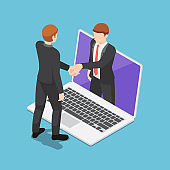 Isometric Businessmen Having Online Agreement and Shaking Hands Through Laptop Screen