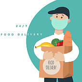 Safe food delivery at home during coronavirus covid-19 epidemic - Food delivery 24/7
