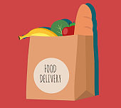 Food in a paper bag, logo. Logo for food delivery. Groceries from the store in a paper bag, ready for delivery.