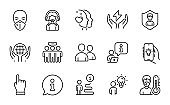 People icons set. Included icon as Medical mask, Safe energy, Electric app. Vector