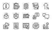 Technology icons set. Included icon as Speech bubble, Increasing percent, Vip internet. Vector