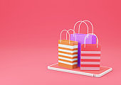 3d Rendering Shopping Bag on Smartphone on Red Background