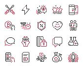 Vector Set of Technology icons related to Loan percent, Talk bubble and Survey. Vector