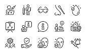Medical icons set. Included icon as Vaccination announcement, Uv protection, Nasal test. Vector