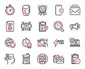 Vector Set of Technology icons related to House security, Time management and Globe. Vector