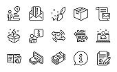 Line icons set. Included icon as Parcel, Mail letter, Copywriting. Vector