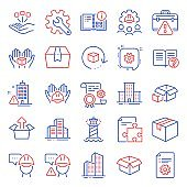 Industrial icons set. Included icon as Instruction info, Lighthouse, Builders union. Vector