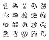 Vector set of Employee hand, Yummy smile and Multitasking gesture line icons set. Vector