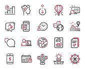 Vector Set of Technology icons related to Handout, Time management and Search. Vector