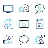 Technology icons set. Included icon as Dating, Freezing, Recovery internet signs. Vector