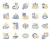 Finance line icons. Accounting coins, Budget Investment, Trade Strategy icons. Finance management, Budget gain. Vector