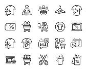 Vector set of Market, Discounts bubble and Dry t-shirt line icons set. Vector