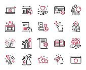 Vector Set of Business icons related to Coffee shop, Financial goal and Cleaning liquids. Vector