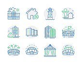 Buildings icons set. Included icon as New house, Lighthouse, Arena signs. Vector