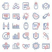 Science icons set. Included icon as Decreasing graph, Medical analyzes, Checked calculation. Vector