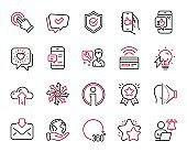 Vector Set of Technology icons related to Face id, Contactless payment and User notification. Vector