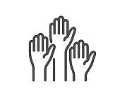 Voting hands line icon. People vote by hand sign. Vector